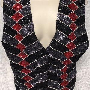 Bali Gem Womens Sequined Vest  Sequins Vintage
